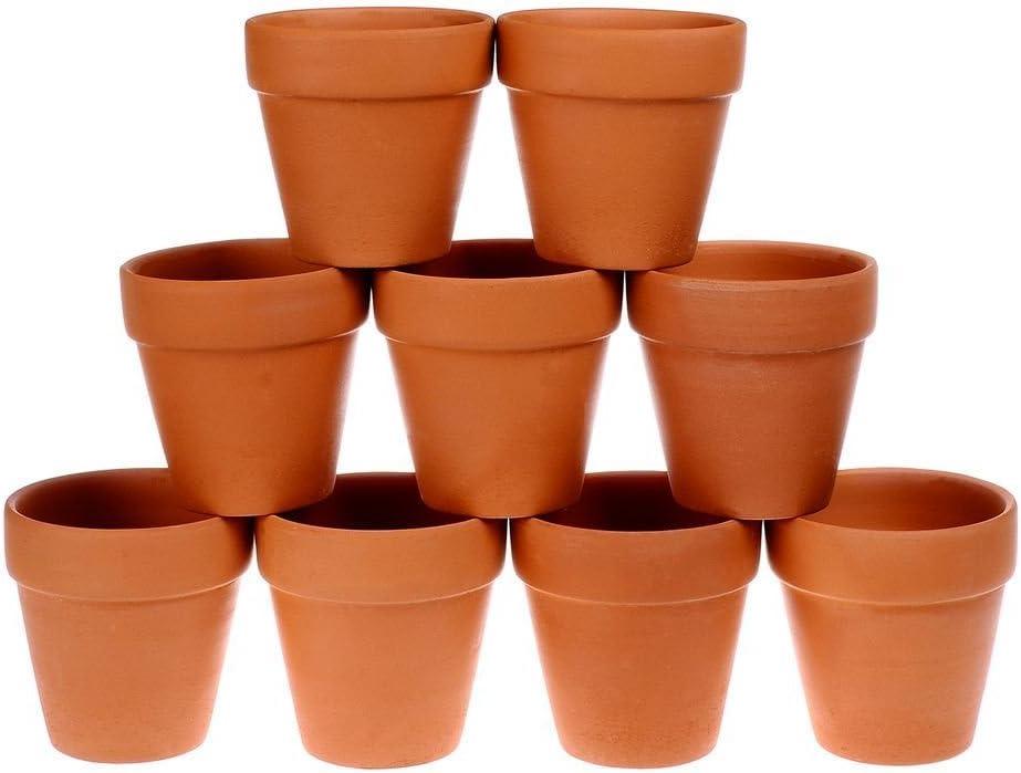 Winlyn 9 Pcs Small Terracotta Pot Clay Pots 3 Clay Ceramic Pottery Planter Cactus Flower Pots Succulent Pot Drainage Hole- Great for Plants,Crafts,Wedding Favor