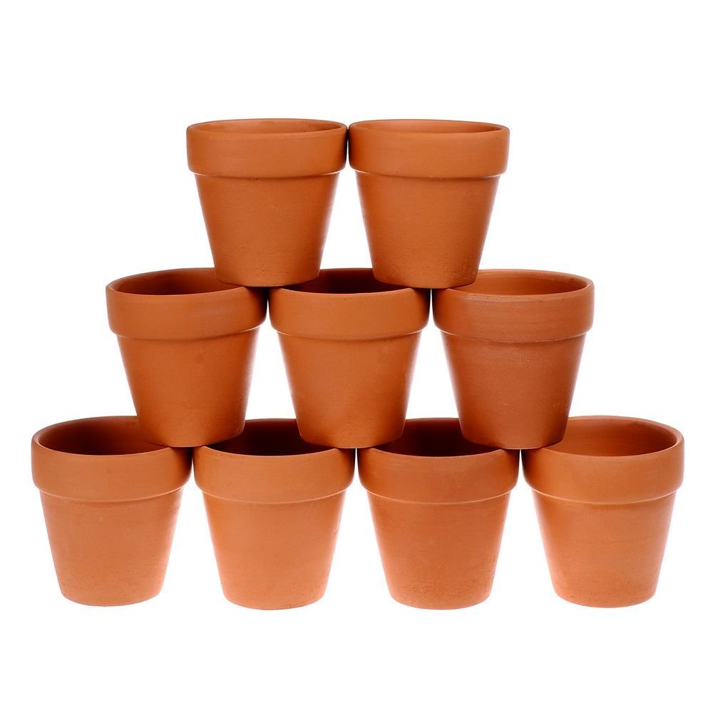 Winlyn 9 Pcs Small Terracotta Pot Clay Pots 3'' Clay Ceramic Pottery Planter Cactus Flower Pots Succulent Pot Drainage Hole- Great for Plants,Crafts,Wedding Favor by Winlyn