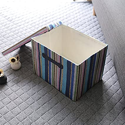 TheWarmHome Beige Decorative Storage Box with Lid Memory Box Organizer Bins with Lids//Baskets for Gifts Empty,15.7/×11.5/×11.5 Inch