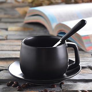 SED Tazza Di Caffè Glassato con Coperchio con Cucchiaio Tazza da Tè Europea da Tè in Ceramica Semplice da Ufficio,UN
