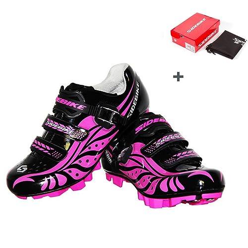 B&Y Zapatillas de Ciclismo Mujer MTB Zapatos con (US6/Eu37/Ft23.5cm
