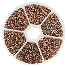 PandaHall Elite 1 Box Iron Plated Jump Rings 4mm to 10mm diameter with Container Red Copper
