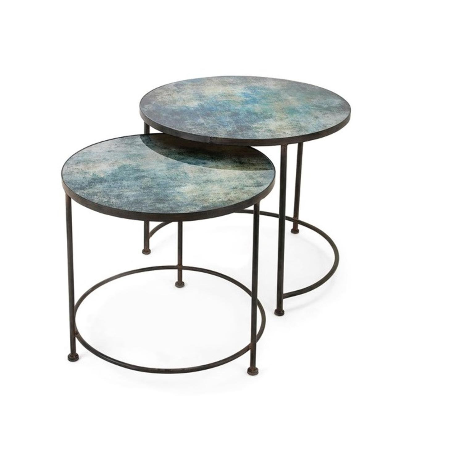 Set of 2 Teal Blue Paxton Metal and Printed Glass Decorative Nesting Tables 33''