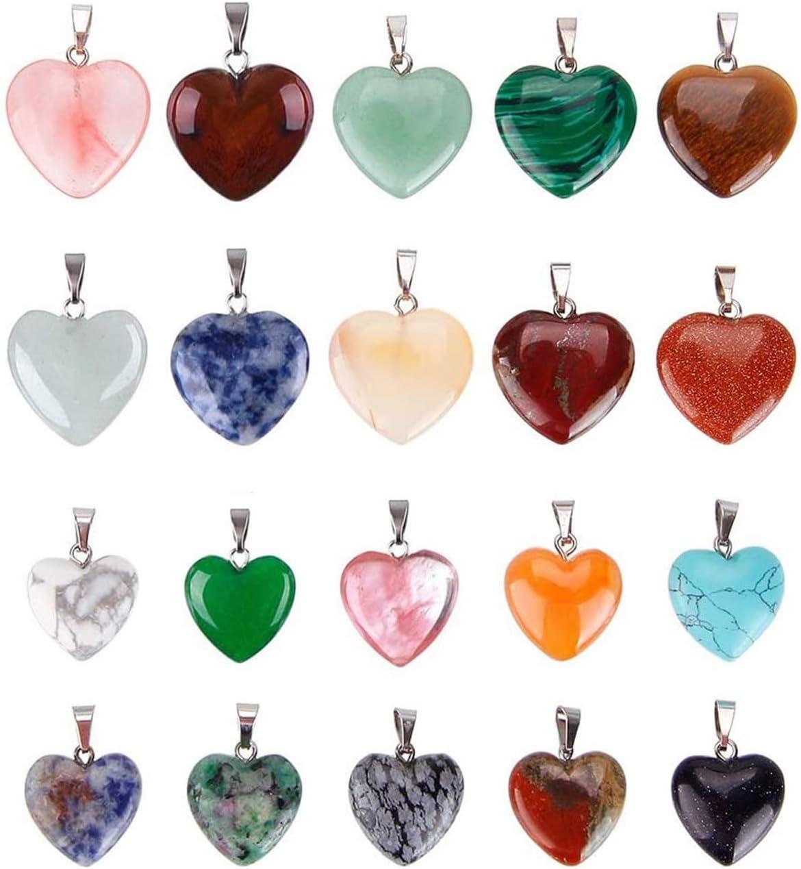 Lvcky - 20 Colgantes de Piedras en Forma de corazón para Chakras, 2 tamaños Diferentes