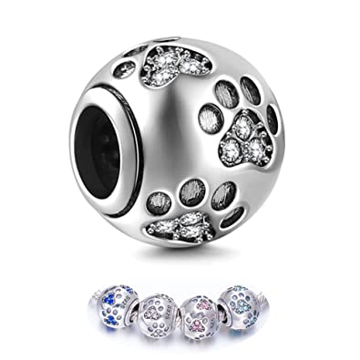 e0818f6bf335e ENJOOOY Sterling Silver Dog Paw Print Charm Beads with Cubic Zirconia  Crystals fit Pandora Style Beaded Bracelets for Pet Lovers