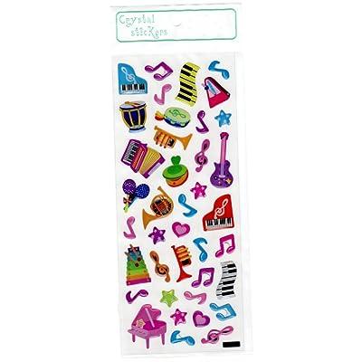 Crystal Stickers - Música Instrumentos colorido tema musical: Oficina y papelería