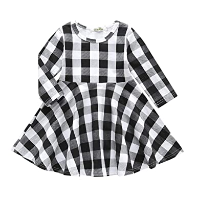 Muium Toddler Baby Girls Princess Dress Ruffles Patchwork Plaid Dresses Sleeveless Skirts Fancy Casual Costume for 0-4 Years Old