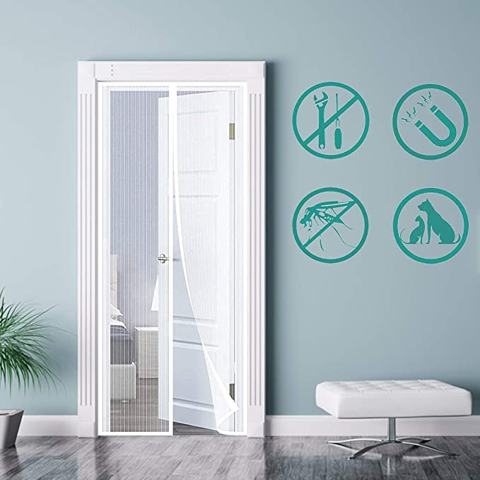 LOGO Mosquitera Puerta Magnetica 100x250cm Mosquiteras a Medida Anti Insectos Moscas y Mosquitos para Puertas Sala de Estar Balcón, Blanco A: Amazon.es: Hogar