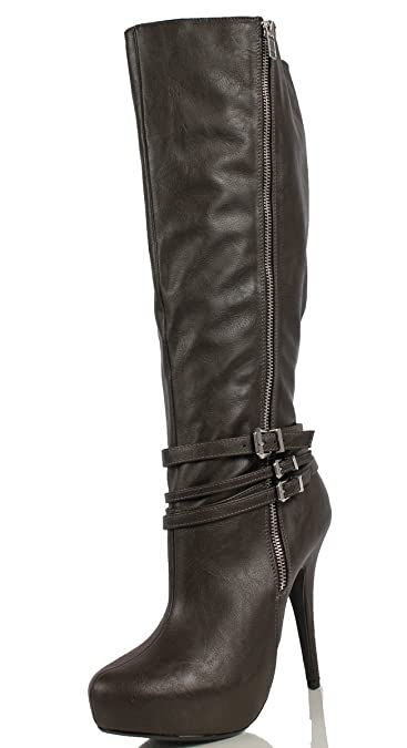 2b73ace1bfb Delicious Women s Matea Faux Leather Strappy Knee High Heel Dress Boots