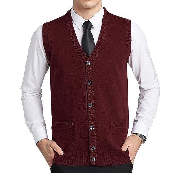 d052b92d05653 FULIER Mens Laine V-Neck Gilet Gilet Sans Manche Gilet Classique Gentleman  Tricots Cardigans Pull
