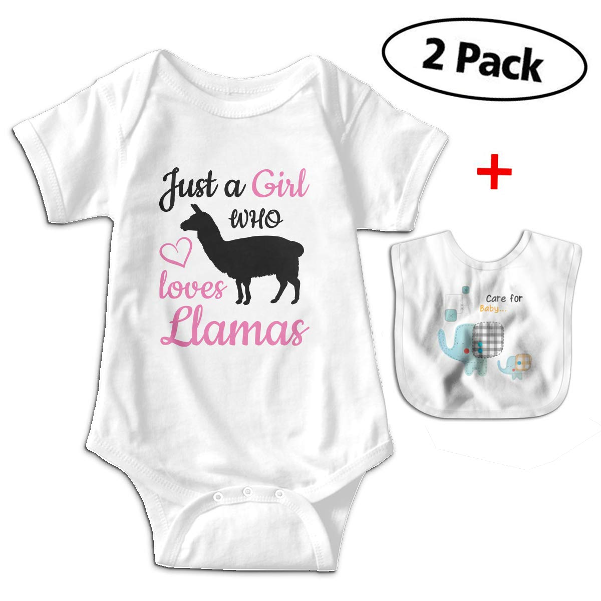 KAYERDELLE Llama Babys Kids Short Sleeve Bodysuit Outfits for 3-24 Months and Baby Bib
