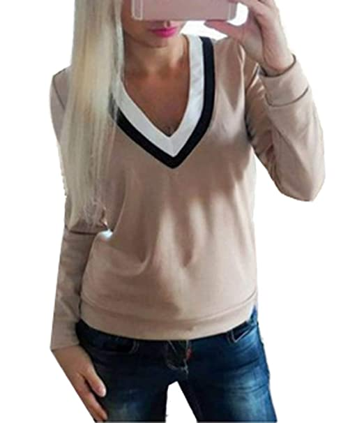 Primavera y Otoño Mujeres Moda Cuello V Patchwork Top Camisetas Suéter Pullover Casual Manga Larga Remata