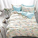 CHARM HOME Vehicle Bedding Full Size Automobile Truck Bus Airplane Ship for Kids Boys Girls Duvet Cover Set 100% Cotton 4 Pieces