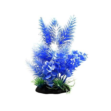 sourcing map Planta Ornamental Azul Blanco De Plástico De Peces De ...