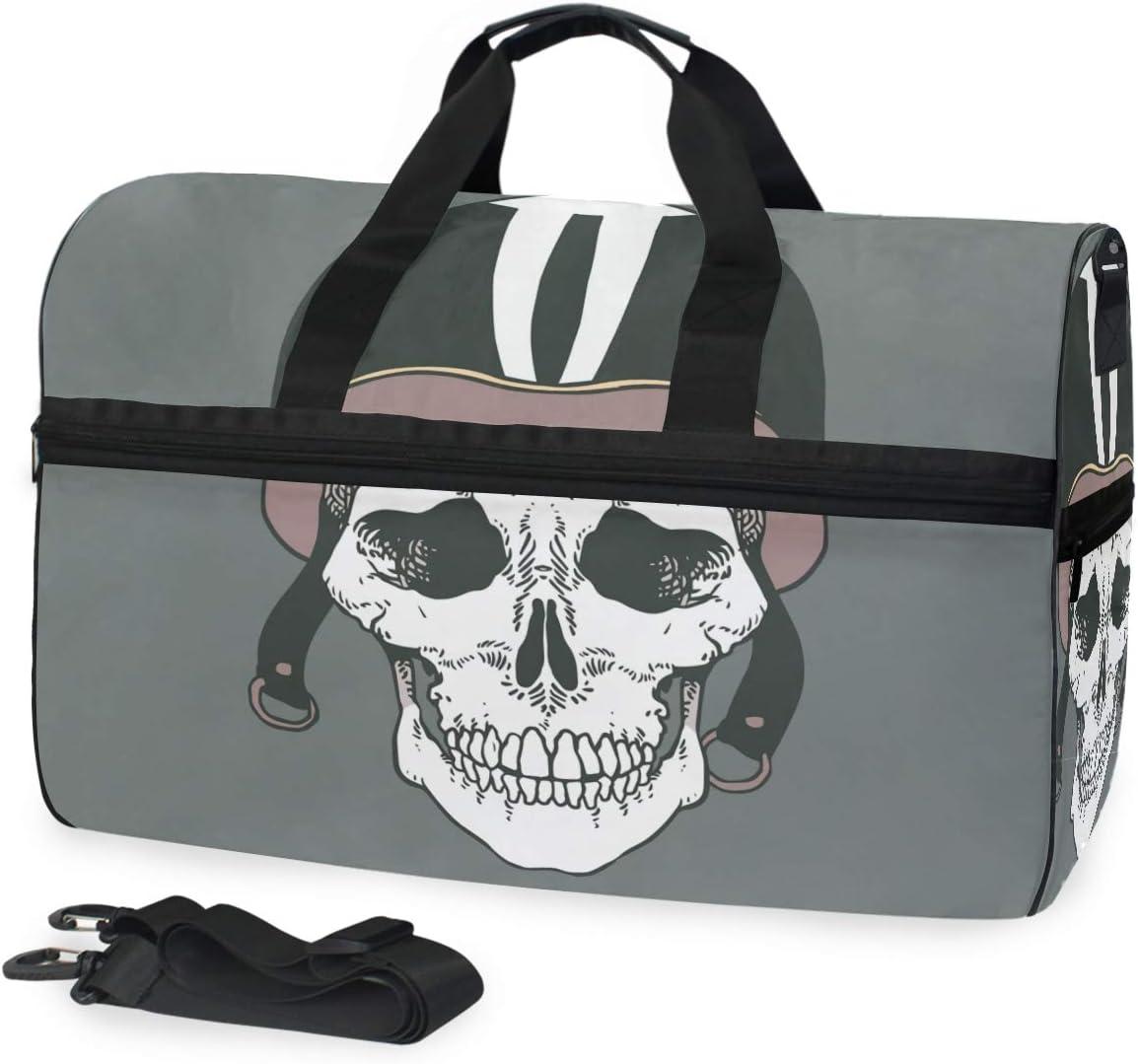 Lightweight Water Resistant Tear Resistant FANTAZIO Skull Head With Helmet Sports Bag Packable Travel Duffle Bag