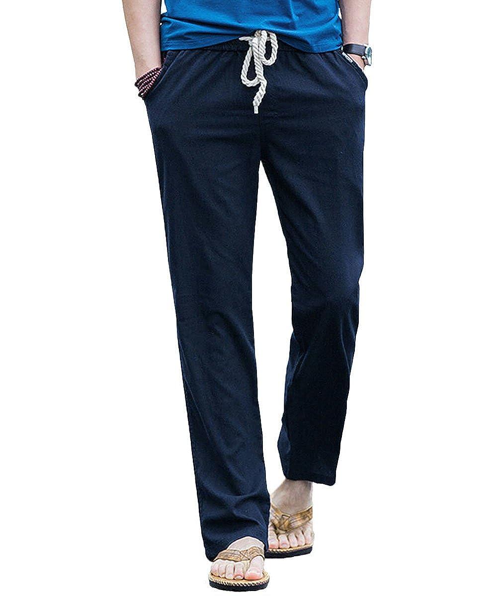 TALLA XL. Donhobo - Pantalones de Lino Casuales para Hombre, Pantalones Ligeros con Cintura elástica y Bolsillos