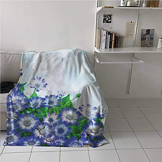Amazon Com Prunushome Flower Throw Blanket Bunch Of Fresh Wildflowers In Grass Vivid Spring Daisy Bloom Over Sky Floral Design Super Soft Ultra Comfort Blue Green 70 X 90 Inches Home Kitchen