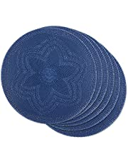 DII Gray Floral Pp Round (Set of 6) Woven Placemat Set