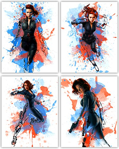 Johansson Scarlett Poster - Black Widow Poster Collection -Scarlett Johansson as The Great Avenger in Our Wall Art Movie Print Series - Set of 4 8x10 Photos
