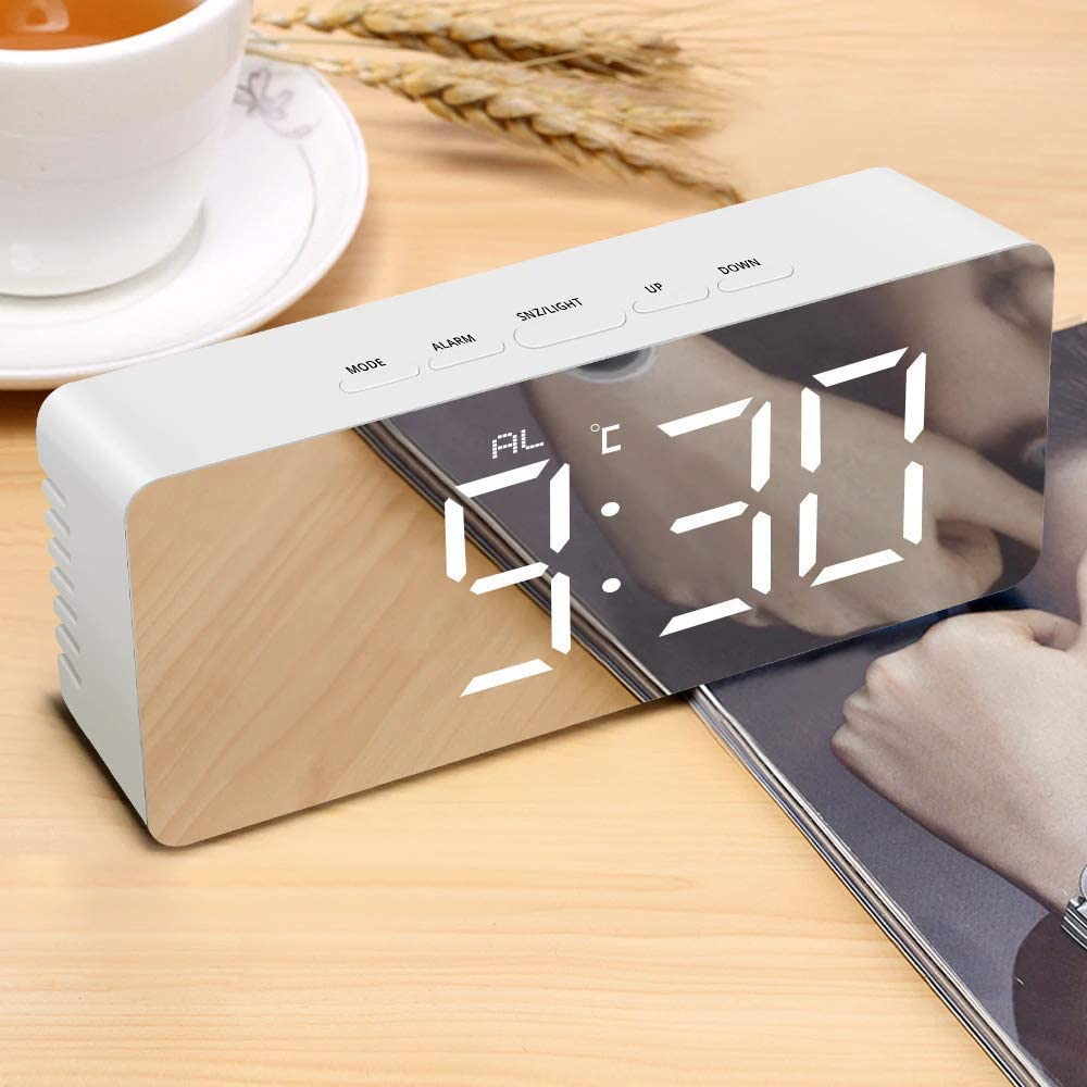 Nubilous Digital LED Alarm Clock, Mirror Alarm Clock for Heavy Sleepers Kids Large LED Display with Snooze Time Temperature Function...