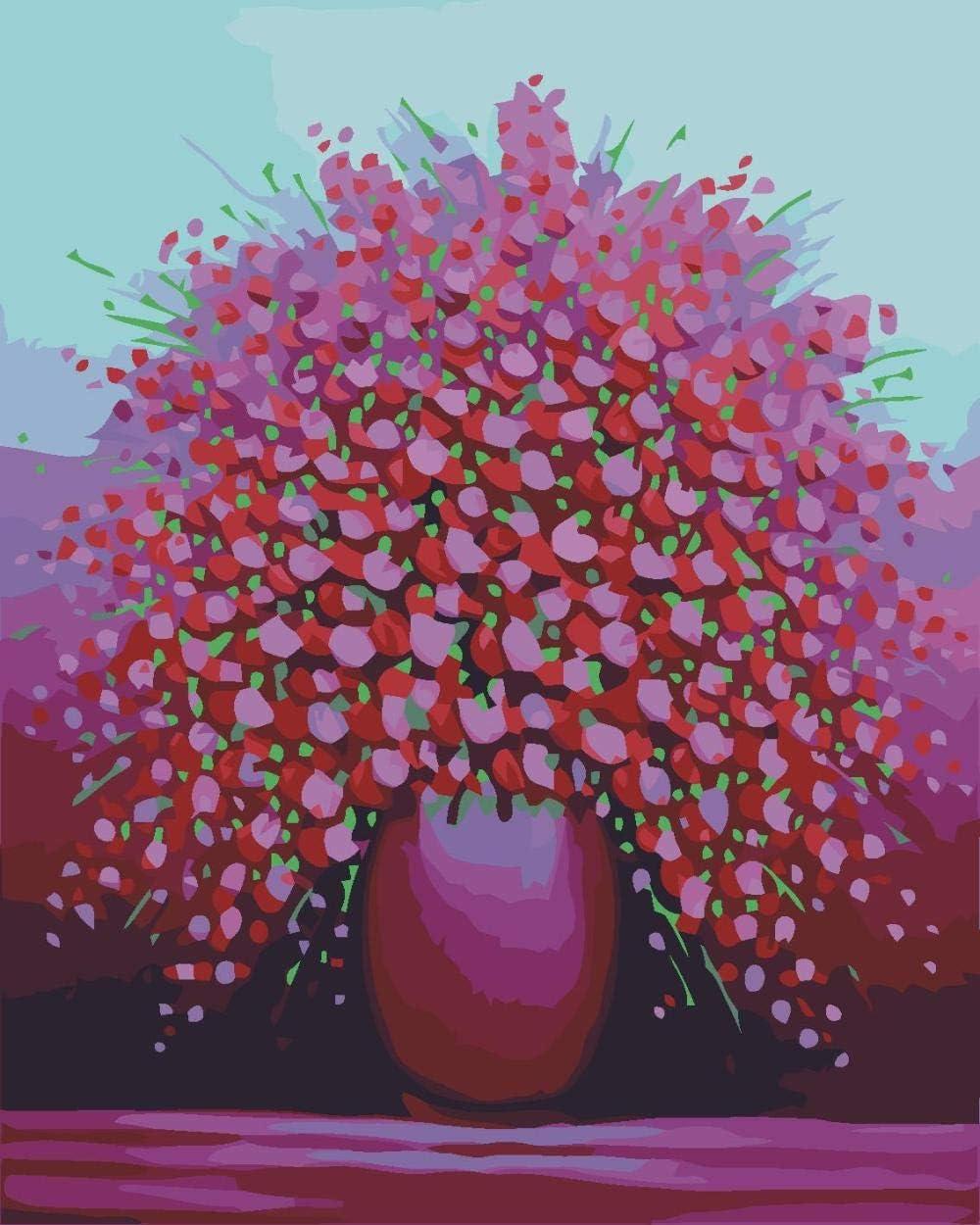 KLBPL Pintar por Numeros Adultos Flores Rojas En Macetas Lino Lona–DIY Pintura Al Óleo Decoracion De Pared Regalos Sin Marco 40,6X50,8 Cm con Pinturas Acrílicas Y 3 Pinceles