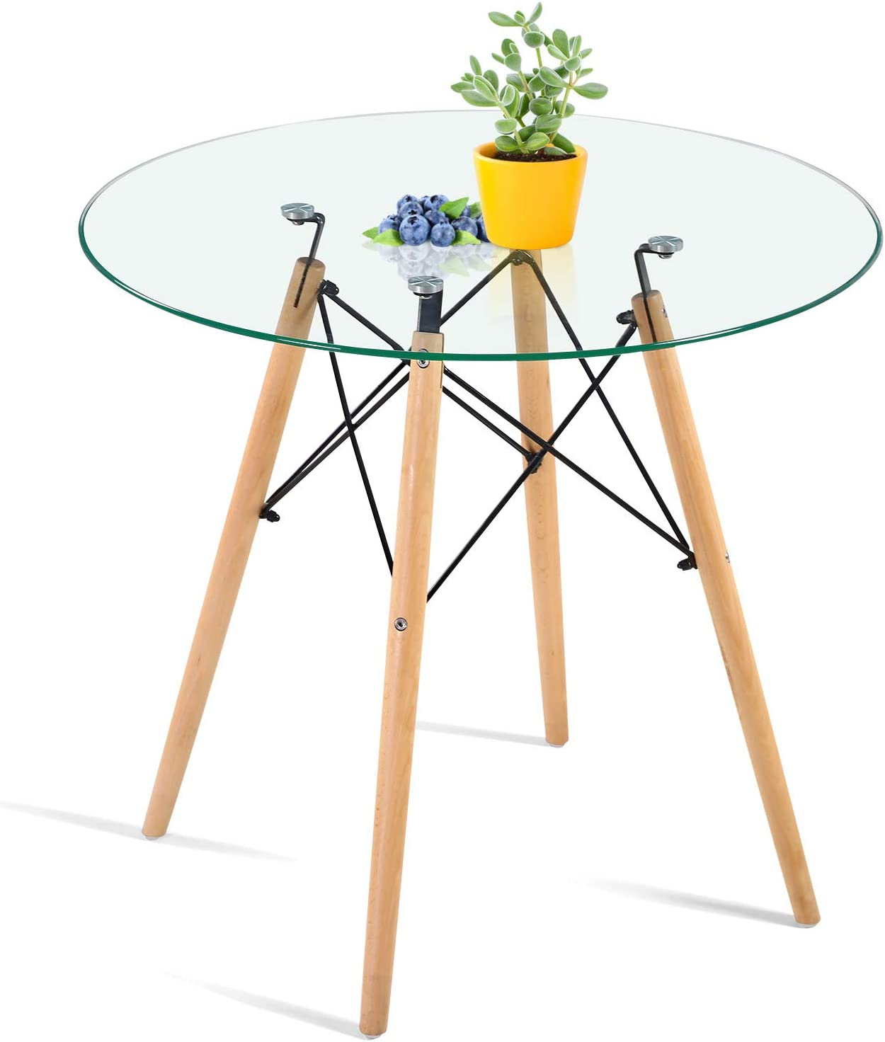 Amazon Com Hayosnfo Round Dining Table With Glass Top Glass Dining Table Modern Leisure Table With Wood Legs Coffee Table For Kitchen Dining Room Living Room Tables