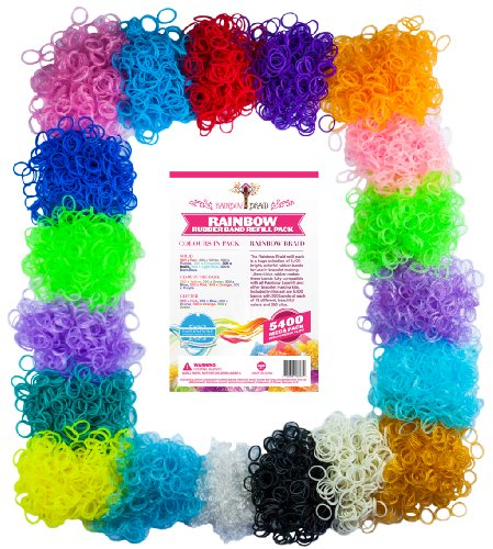 Loom Rainbow Braid Rubber Bands - 5400pc Massive Loom Refill Set - 18 Colors with 250 Clips - Make Rubber Band Bracelets - Fully Compatible with All Rubber Band Looms - 300 Each of 18 Different Colors - Solid/Neons (Red, Purple, Turquoise, Light Blue, Dark Blue), Fluorescents (Yellow, Green, Blue, Pink, Orange, Purple), Glitters (Pink, Blue, Purple, Orange, Green) and Bolds (Black, White) - 365 Day 100% Money Back Guarantee