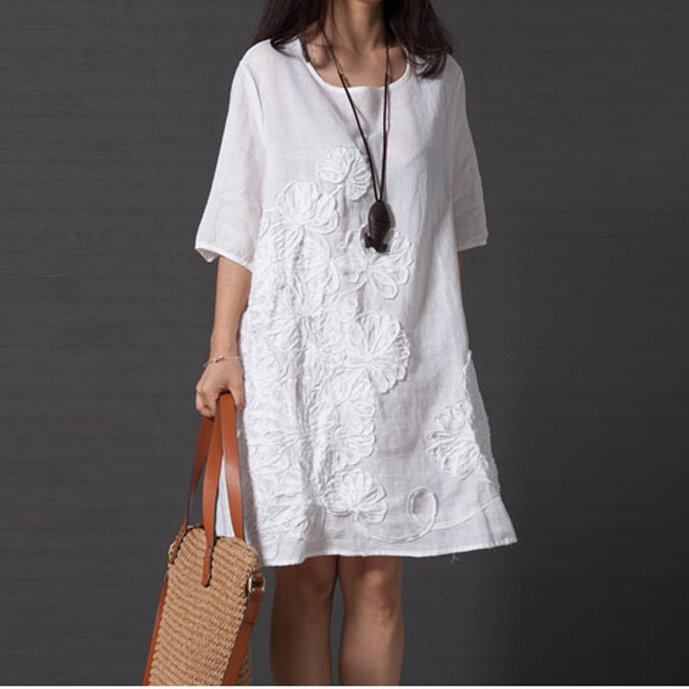 Respctful✿Linen Dresses for Women Summer A-Line Embroidered Sundress Casual Short Sleeve Floral PrinMini Dresses