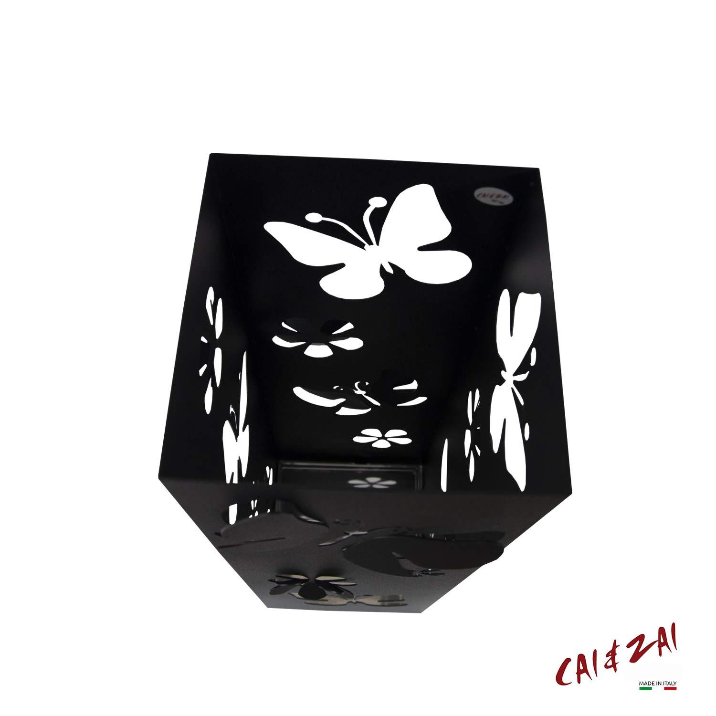 Bianco Dimensioni 15x15x47 cm CAI /& ZAI Portaombrelli Farfalle Quadrato con vaschetta Estraibile Design Moderno Made in Italy Adatto Uso Interno e Esterno