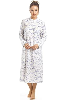Camille Womens Ladies Classic Blue Country Cottage Print Brushed Polycotton  Nightdress 96be20567