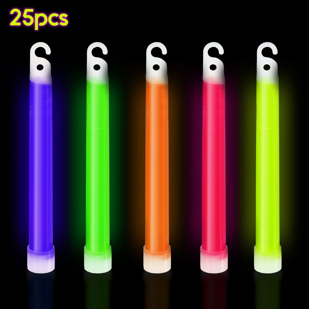 PARTYSAVING 25-Pack Industrial Grade Glow Stick 6 Inch Ultra Bright Color Assortment 12-Hour Duration