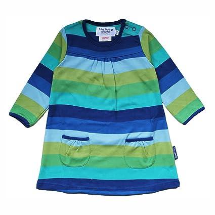 designer fashion 60a02 3eea0 Toby Tiger Bambina Vestito a maniche lunghe blu e bianche ...