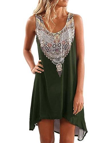 Shele Womens Sleeveless Tribal Print T-Shirt Tunic Tank Top Dresses