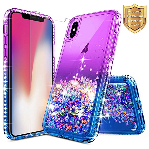 iPhone X Case, iPhone Xs Glitter Case, NageBee Liquid Quicksand Waterfall Flowing Sparkle Shiny Bling Diamond Girls Cute Case w/[Tempered Glass Screen Protector] for iPhone 10/X/Xs -Purple/Blue