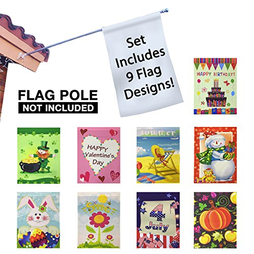 Seasonal Holiday Garden Flags Set of 9  30 x 43 Flags: Birthday Valentines Day  Easter  St. Patricks  Summer  4th of July  Spring  Fall  Winter
