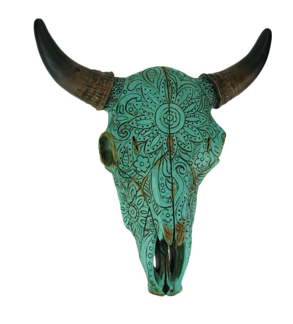 DeLeon Resin Wall Sculptures Turquoise Floral Tribal Carved Bull Skull Hanging Statue 10 X 10 X 3 Inches Orange