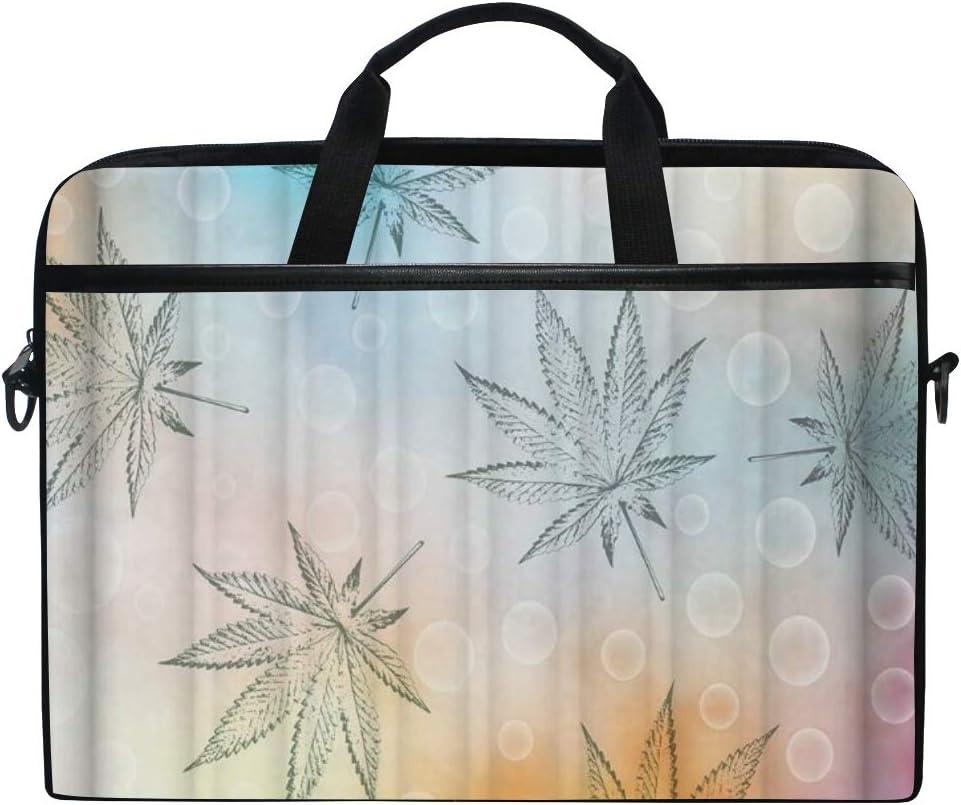LOSNINA 15-15.6 Inch Bolsa de Ordenador,Impresión de Hoja de Cannabis Sativa,Nuevo Patrón de impresión portátil Hombro Bolsa maletín portátil de Ordenador portátil Caso