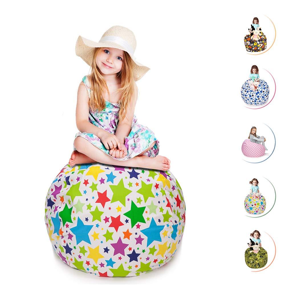 CALA LIFE Stuffed Animal Storage Bean Bag Chair, Extra Large Beanbag Soft Cotton Canvas Organizer Box for Kids - 38'' (Star) by CALA LIFE