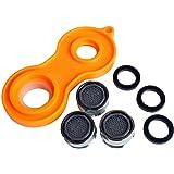 SANIXA Wasser-Sparer Wasserhahn 3er Set mit Werkzeug Strahlregler Mischdüse Luftsprudler Spareinsatz Wasserhahn-Aufsatz SX1