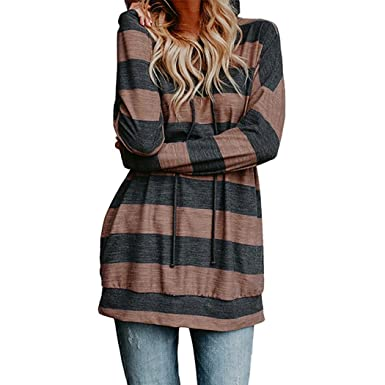 5db1f2eef286f Sannysis Women Loose Sweatshirt Hodded T-Shirt Long Sleeve Stripe Sexy  Pullover Casual Blouse Elegant