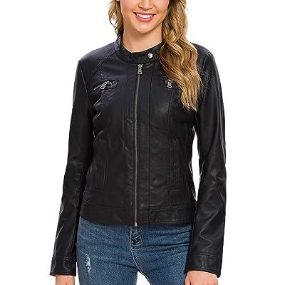 Fahsyee Women's Faux Leather Jackets, Zip Up Motorcycle Short PU Moto Biker Outwear Fitted Slim Coat at Women's Coats Shop