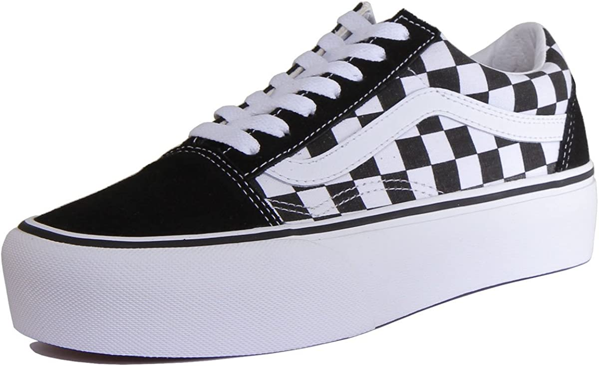 Vans Old Skool Platform Checkerboard Black True White VN0A3B3UHRK Mens 7.5Womens 9