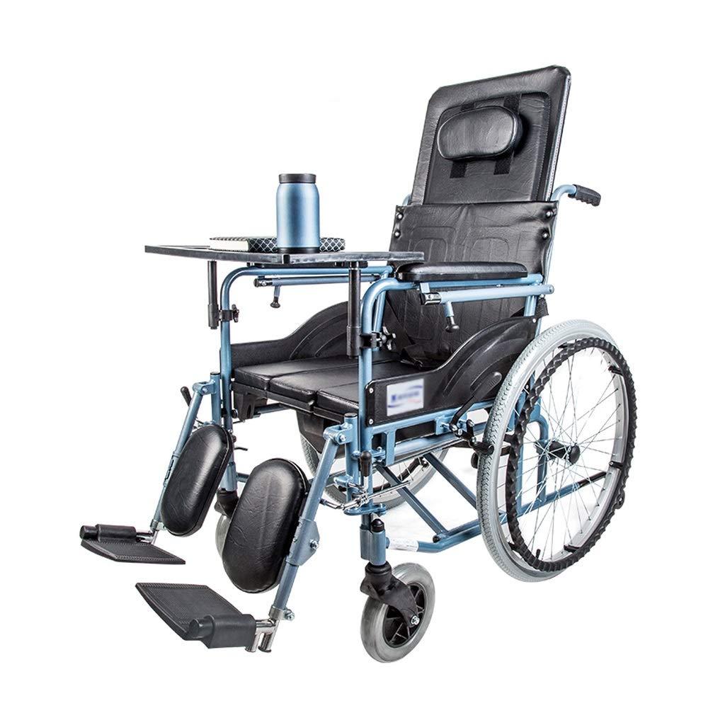 2019高い素材  手動車椅子 - 高いあと振れ止め、半横臥の設計 ブラック)、ハンドブレーキの設計、ダイニングテーブルおよび洗面器が付いているアルミ合金の車椅子 (色 (色 : ブラック) - ブラック B07P782FVT, KAK-kids:cc3b2c95 --- a0267596.xsph.ru