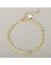 Fettero Beach Boho Foot Jewelry Gold Heart Chain Arrow Chevron Fishbone Chain anklet