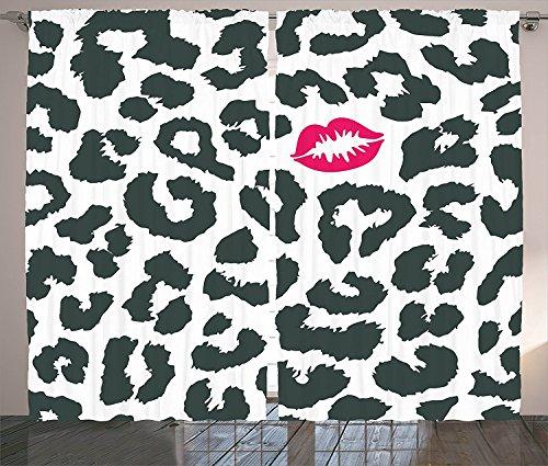Safari Decor Curtains Leopard Cheetah Animal Print Illustration With Kiss Lipstick Mark Dotted Trendy Art Living Room Bedroom Decor 2 Panel Set Black White Red,Size:2 x 54