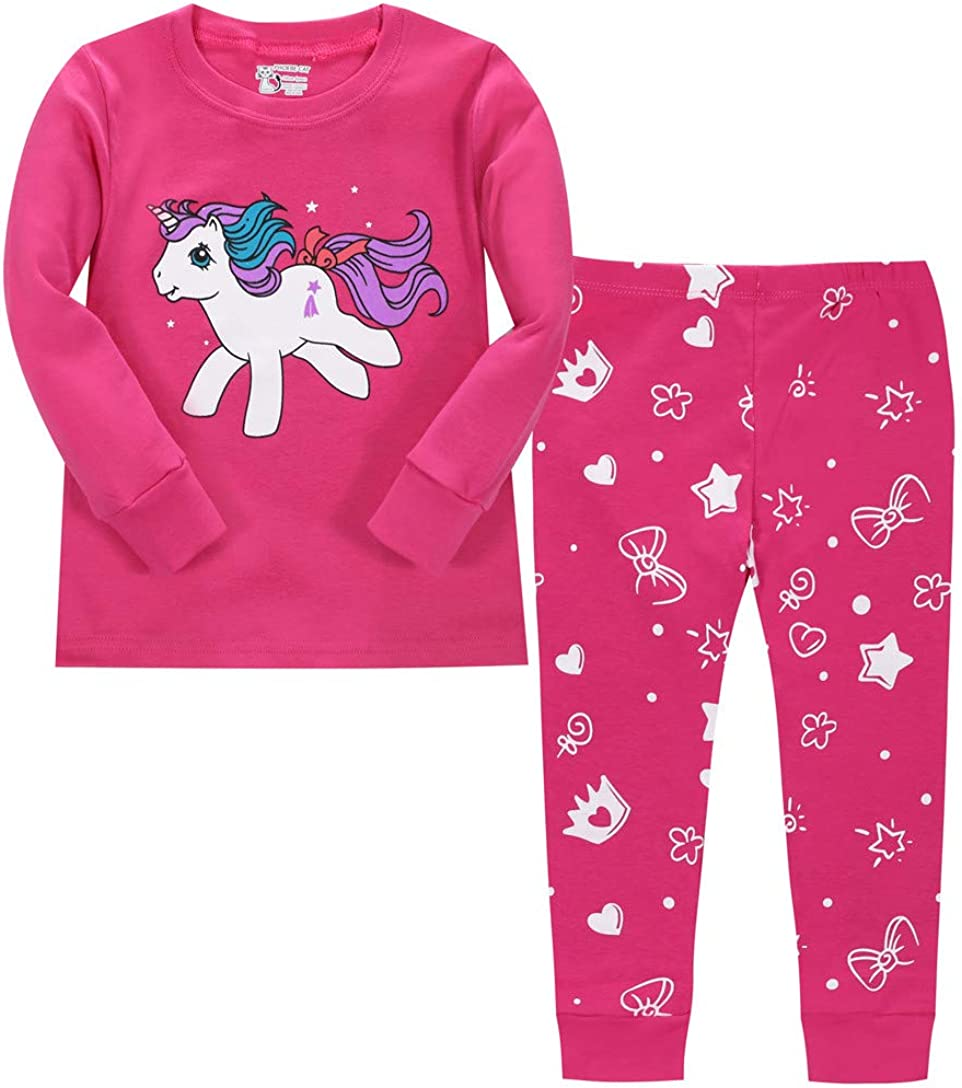 Litbud Pijama de unicornio para niñas, 2 piezas de manga larga pijamas pijamas conjuntos de ropa de dormir para niños de 2 a 8 años