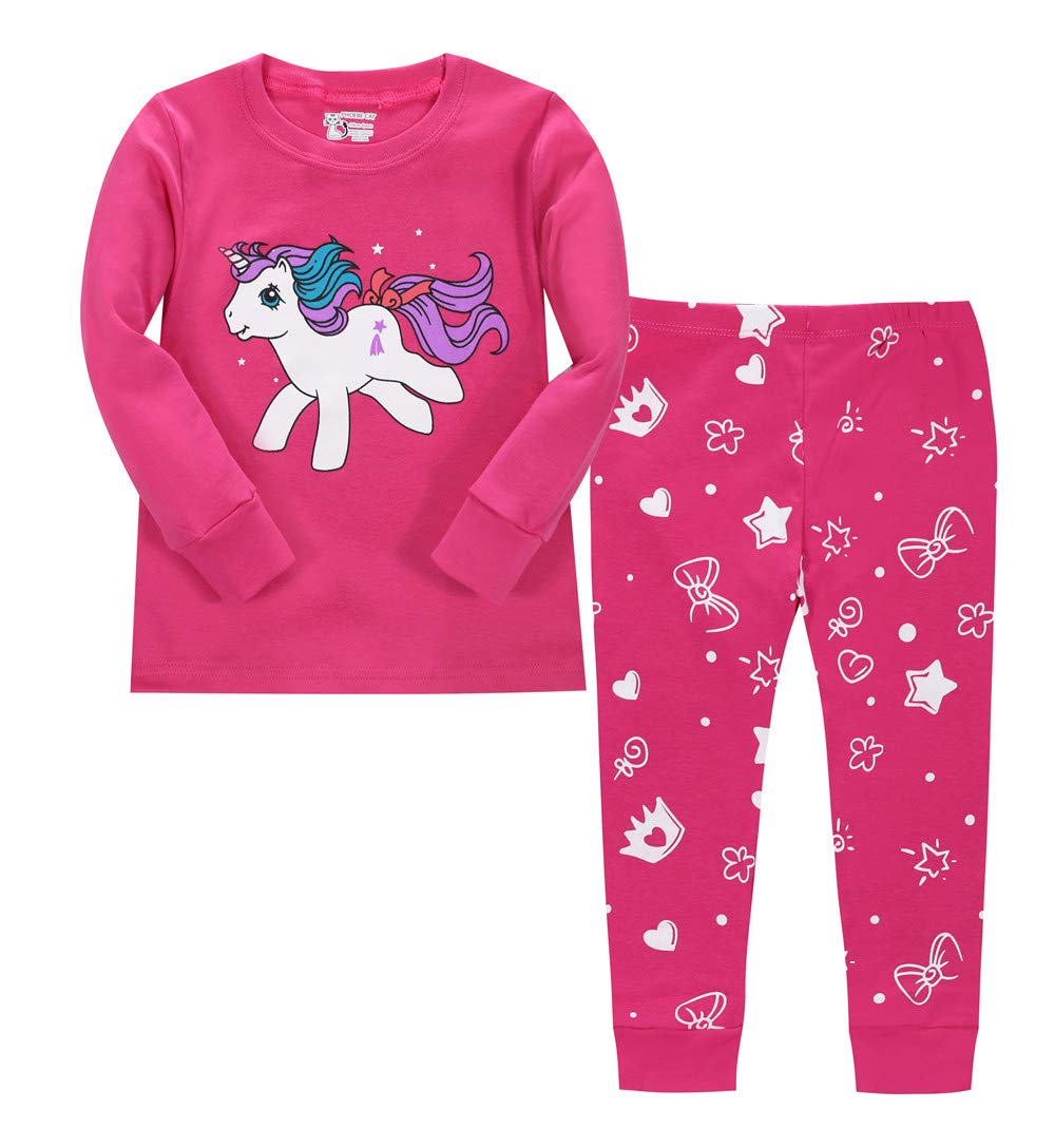 LitBud Toddler Girls Unicorn Pajamas Sleepwears 2pcs Long Sleeves Pjs Sets for Kids Size 3-4 Years 4T