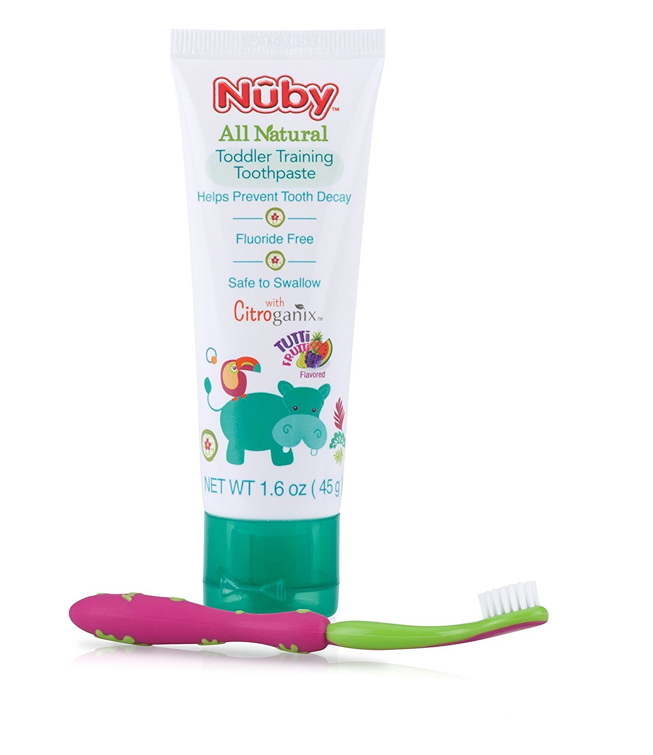 Nuby All Natural Toddler Toothpaste with Citroganix with Toothbrush, Blue/Green Nuby US 68046