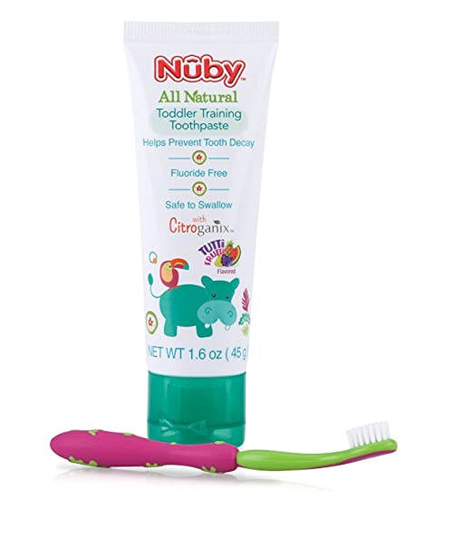 Nuby All Natural Toddler Toothpaste with Citroganix with Toothbrush, Pink/Green