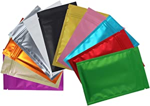 100 Assorted Translucent/Silver/Colored Flat Metallic Foil Zip Top Bags Pouch 8.5x13cm (3.3x5.1